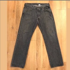 Levis 36x34 501 Straight Leg Button Fly Jeans Gray